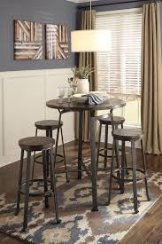 tall round dining table set challiman round dining room bar table 4 tall stools bar stools