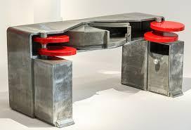 michel bureau bureau zinc poli disques orientables laqués rouges formant