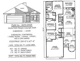 3 Bedroom Floor Plans With Garage Narrow 1 Story Floor Plans Under 36 Feet Wide