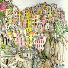 Manarola Italy Map by Coloring By Betty Hung Colorart Ca Manarola La Spezia Italy