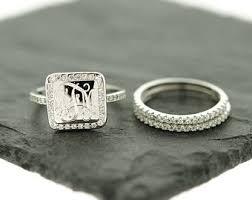 monogrammed rings silver 925 silver cz stacking monogram ring wedding set monogram