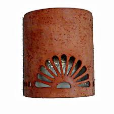 Southwestern Sconces New Mexico Sun Symbol Outdoor Wall Sconce From Custom Cut