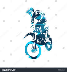 motocross freestyle motocross jumping freestyle rider vector illustration stock vector