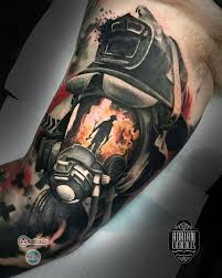 automotive tattoo sleeve firefighter tattoo by adriancier who is currently on the road