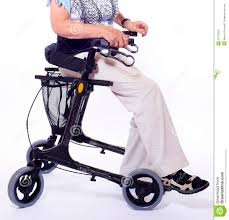 senior walkers with seat bodypart of elderly woman sitting on walker royalty free stock