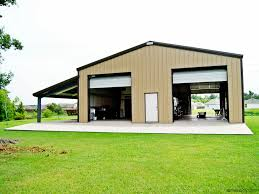 Prefab Metal Barns Steel Garage Building With Two High Overhead Doors And A Lean To