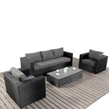 Black Wicker Furniture Port Royal Prestige Black U0026 Charcoal Large Sofa Rattan Garden