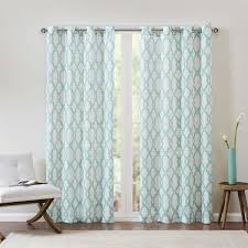 Blue And White Window Curtains And White Textured Fretwork Printed Curtain Panel