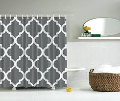 geometric shower curtain gray and white decorative damask