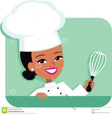 chef de cuisine femme kitchen chef illustration of holding stock vector
