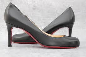 christian louboutin black leather simple 70 heels at jill u0027s