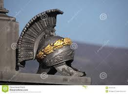 ancient roman helmet memorial the battle of kulm stock photo