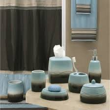 mystique brown blue shower curtain and accessories by creative