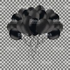 bunch of black helium balloons isolated on transparent background