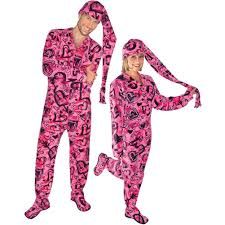 hearts fleece onesie footed pajamas with drop seat