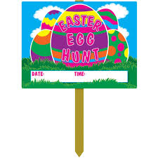 Large Easter Egg Yard Decorations by Amazon Com Plastic Easter Egg Hunt Yard Sign Party Accessory 1