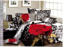 red rose leopard skin queen bedding duvet covers sets for sale