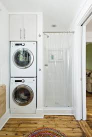 calgary stackable washer dryer laundry room contemporary with open
