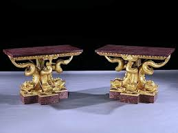 dolphin coffee tables a fine pair of regency giltwood and porphry dolphin tables