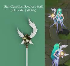 star guardian soraka 3d staff model