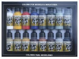 vallejo model air basic colors acrylic paint set for air brush