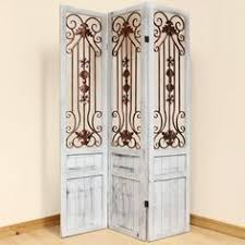 wood and wrought iron room screen metal scroll work 3 panel