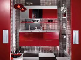 Red And Black Bathroom Ideas Colors Enticing Red Bathroom For Wall Furnitures And Accessories Ideas