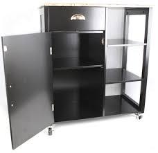 Marble Top Kitchen Island Cart Khome Black Finish Wood U0026 Marble Vinyl Top Kitchen Storage Cabinet