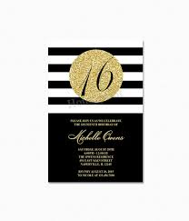gold 16th birthday party invitation black and white stripes