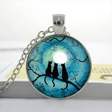 glass necklace pendant images Blue moon and cat glass necklace galaxy pendant hemuks world jpg
