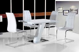 Grazia White High Gloss Contemporary Designer  Cm Compact - Black dining table for 4