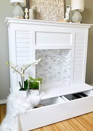 diy faux fireplace with shiplap and extra storage