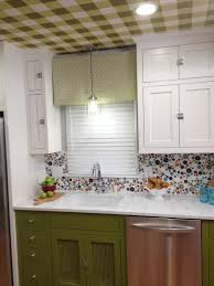 silver backsplash green victorian tiles touchless kitchen faucets