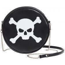 skull and cross bones round shoulder bag black purse pirate gothic
