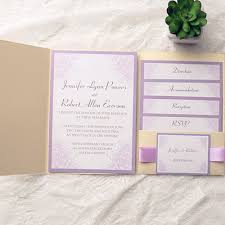 pocket wedding invitations light purple flower gold pocket wedding invitation kits ewpi135 as