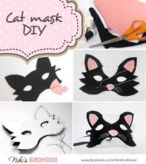 diy cat mask made of paper and wool felt if you don u0027t feel like