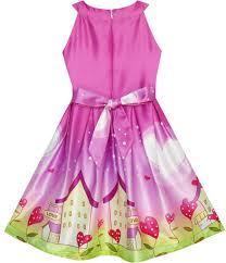 girls dress purple love heart house pleated hem party wedding