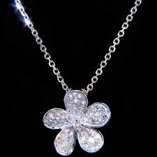 diamond flower necklace images 14k diamond flower pendant necklace pendants necklaces jpg