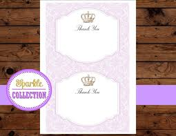princess thank you card princess purple shower baby shower