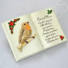 mum christmas robin memorial book plaque with verse
