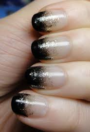 cool nail polish ideas with half black and half white and silver