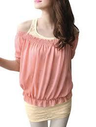elastic waist blouse buy boat neck elastic waist chiffon blouse w lace tank tops