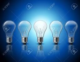 light bulbs that gradually get brighter successful thinking and getting bright ideas metaphorical gradually