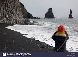 Black Sand Beaches by Iceland Sudurland Reynisfjara Black Sand Beach Vik Needles And