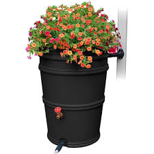 earthminded rainstation 45 gal recycled black rain barrel with