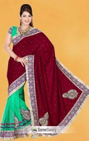 saree blouse maroon and pista green color velvet and net saree