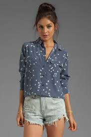 equipment signature blouse equipment starry slim signature blouse in blue revolve