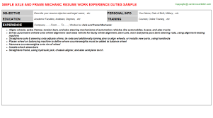 exle of a written resume axle and frame mechanic resumes sles descriptions and duties