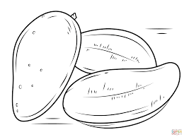 mango fruits coloring page free printable coloring pages