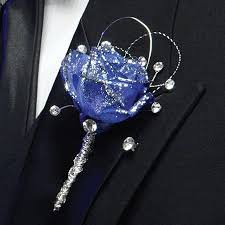 Royal Blue Corsage And Boutonniere Blue Rose Boutonniere W Jewels Durocher Florist Boutonnieres